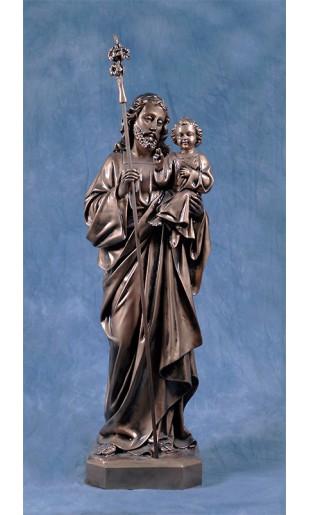 Statua San Giuseppe con Gesù bambino 85cm bronzato