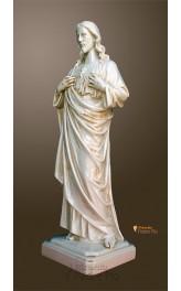 Statua Sacro Cuore di Gesù 50cm effetto invecchiato